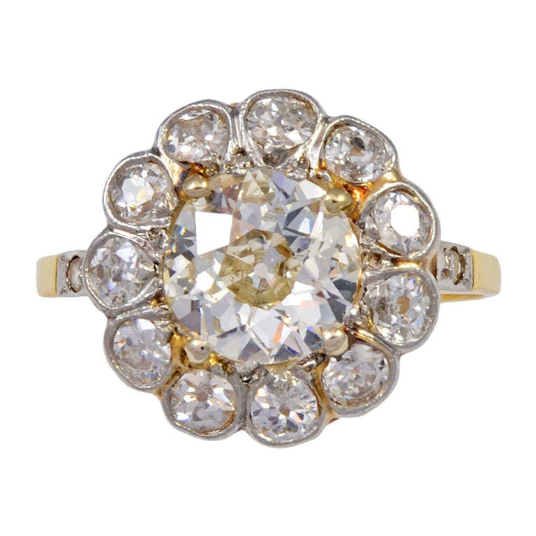 Victorian Old Mine Cut Diamond Gold Ring For Sale