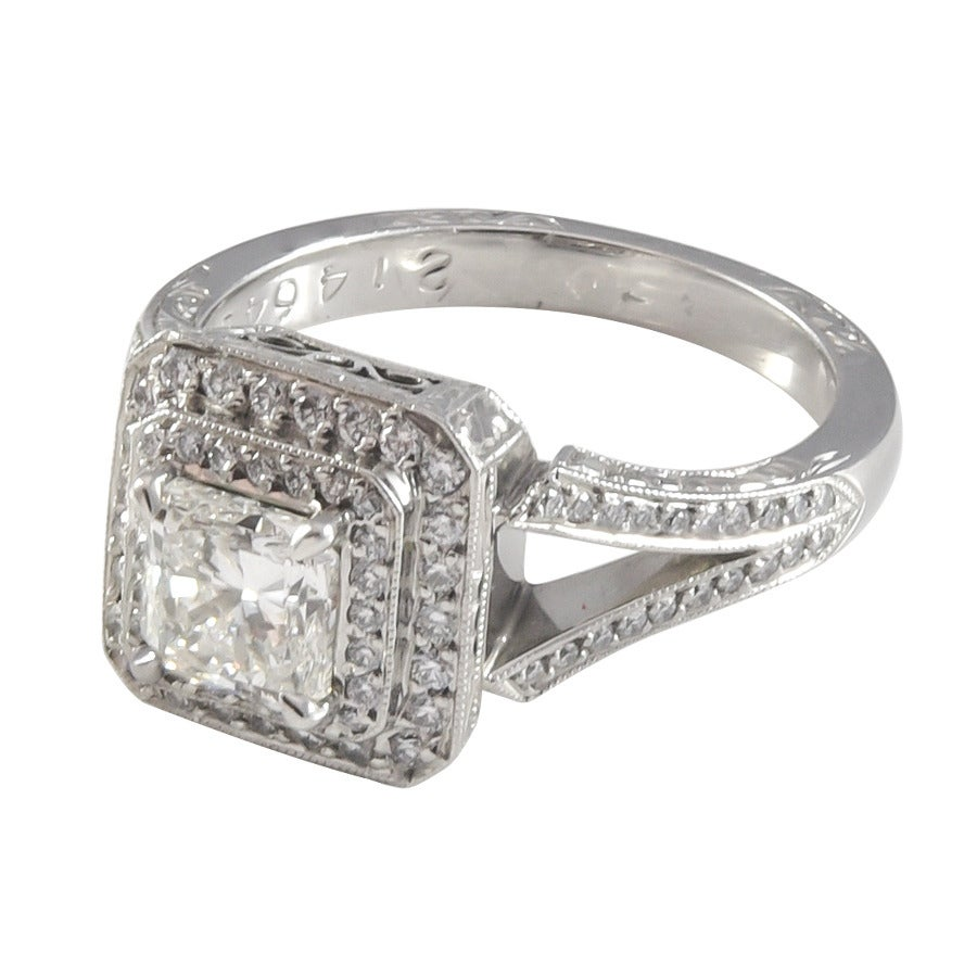 1 00 Carat GIA Cert Princess Cut Double Halo Diamond Platinum Ring For Sale a