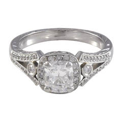 1.03 Carat D/SI1 Diamond with Diamond Halo and Hand Engraved Platinum Ring