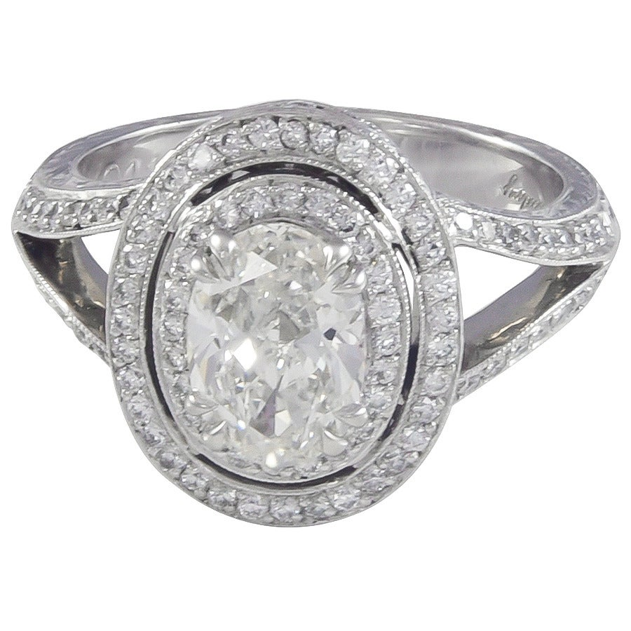 1.20 Carat G/SI1 Oval Diamond Double Halo Platinum Ring