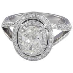 1.20 Carat G/SI1 Oval Diamond Double Halo Platinum Ring
