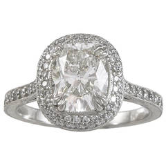 2.11 Carat G/VS2 Cushion Diamond with Pave Halo and Hand Engraved Platinum Ring