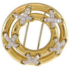 Tiffany & Co. Diamond Gold Circle Brooch
