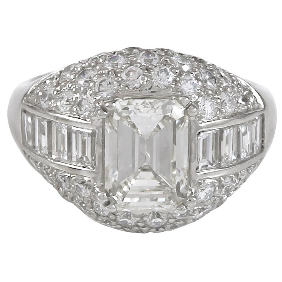 2 03 carat emerald cut and pave set platinum