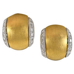 Tiffany & Co. Diamond Brushed Gold Clip Post Earrings