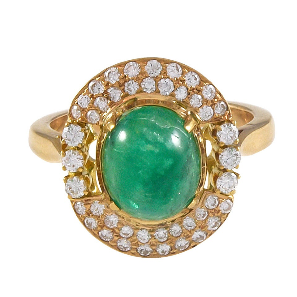 2.70 Carat Cabochon Emerald Diamond Gold Cocktail Ring For Sale