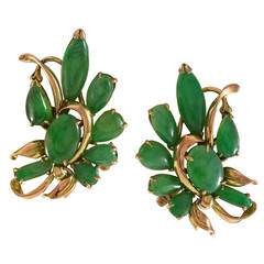 Jade Gold Floral Clip Earrings