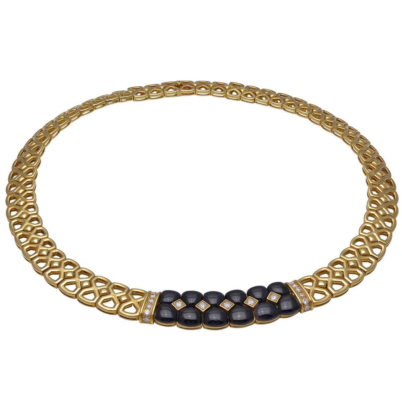 Van Cleef & Arpels Onyx Diamond Gold Choker Necklace