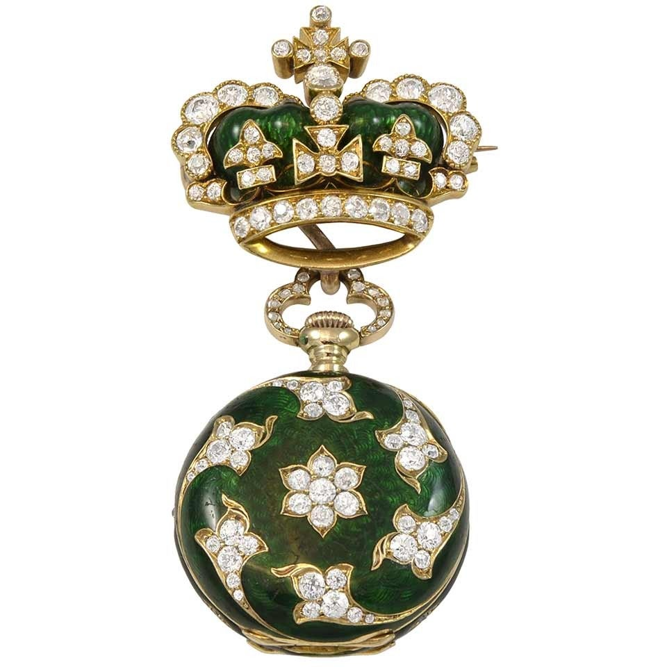 Dreicer & Son yellow gold Diamond Green Enamel pocket Watch Brooch