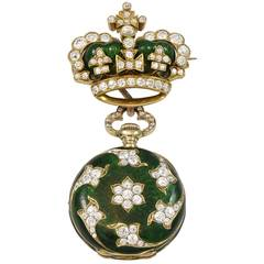 Dreicer & Son Green Enamel Diamond Gold Watch Brooch