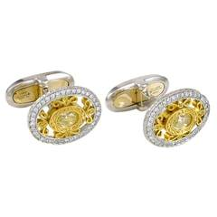 Oval Fancy Yellow Diamond Gold Platinum Cufflinks