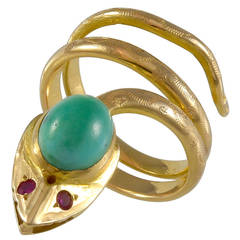 Cabachon Turquoise Ruby Gold Snake Ring