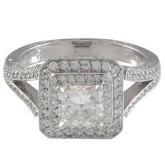 1.00 Carat GIA Cert Princess Cut Double Halo Diamond Platinum Ring