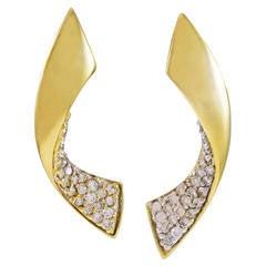 1.50 Carat Diamond Gold Dangle Earrings