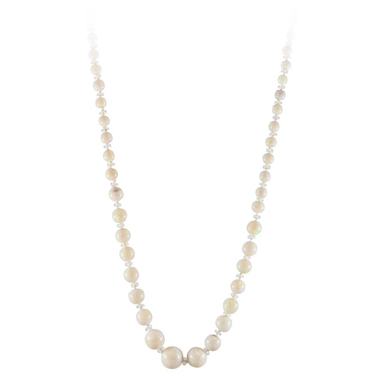 Graduating White Opal Bead Necklace 1