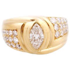 Bulgari Marquise and Pave Diamond Gold Band Ring