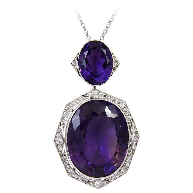 Art Deco Amethyst Diamond Gold Platinum Pendant Necklace