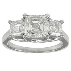 3.47 Carats GIA Cert Asscher Cut Diamonds Platinum Three Stone Engagement Ring