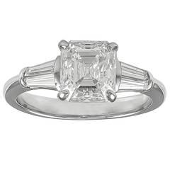 2.17 Carat GIA Cert Asscher Cut and Tapered Baguette Diamond Platinum Ring
