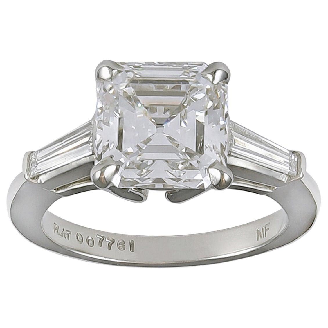 3 carat Asscher cut Diamond 3Stone Engagement Ring