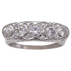 Art Deco Old European Cut Diamonds Platinum Band Ring