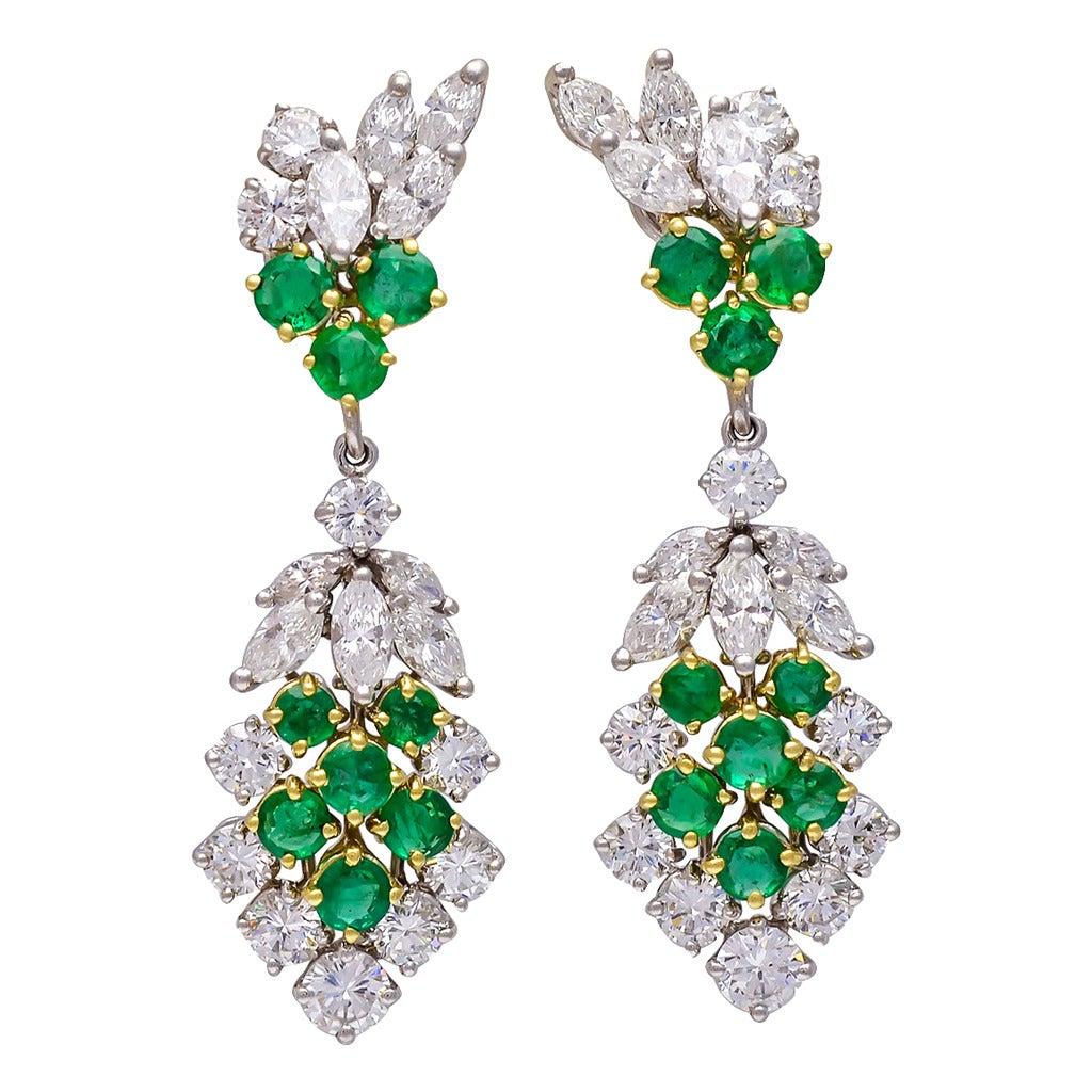 Emerald Diamond Gold Platinum Convertible Chandelier Earrings at ...