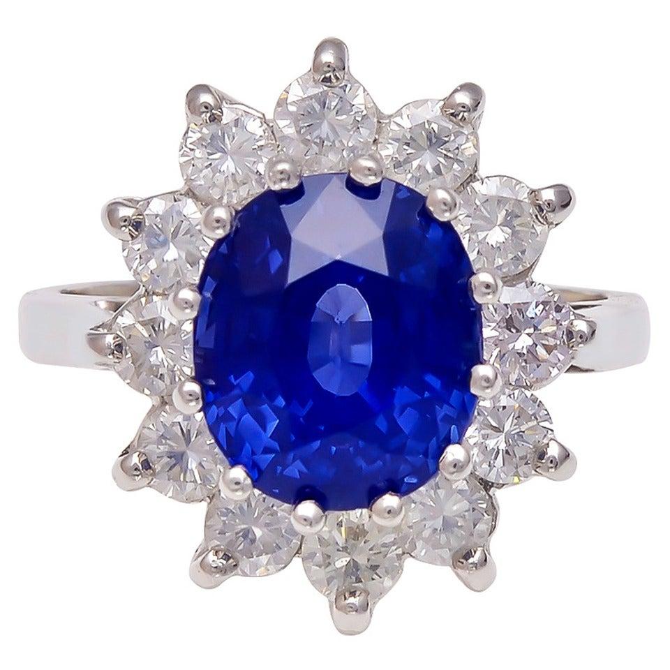 5.05 Carat Natural No Heat Sapphire Diamond Platinum Ring