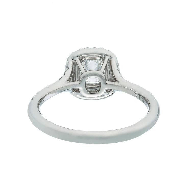 Women's Tiffany & Co. Cushion Diamond Platinum Ring For Sale