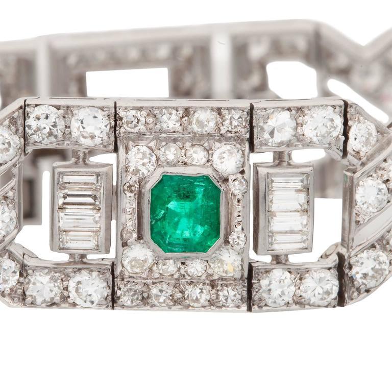 Art Deco Emerald Diamond Platinum Link Bracelet 2