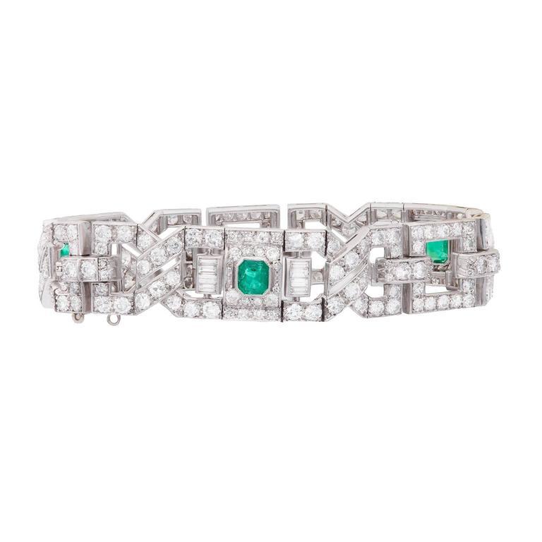 Art Deco Emerald Diamond Platinum Link Bracelet 3
