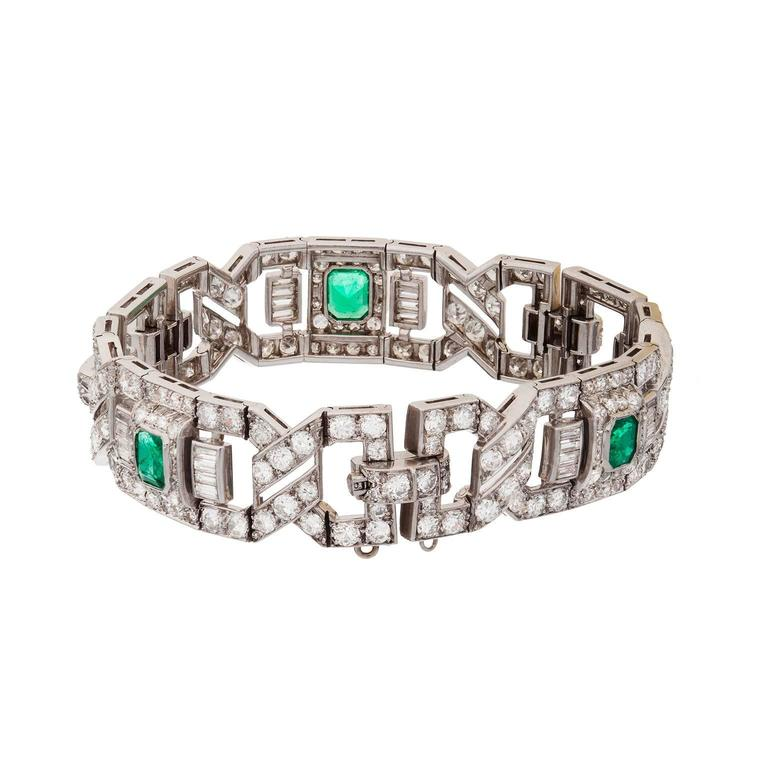 Art Deco Emerald Diamond Platinum Link Bracelet 4