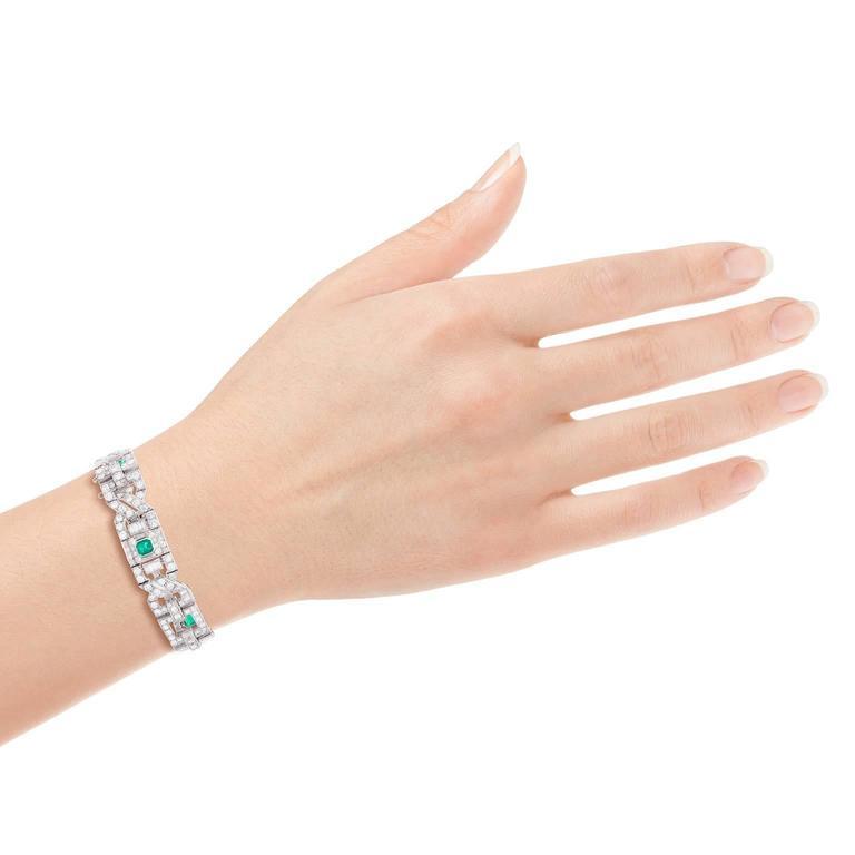 Art Deco Emerald Diamond Platinum Link Bracelet 5