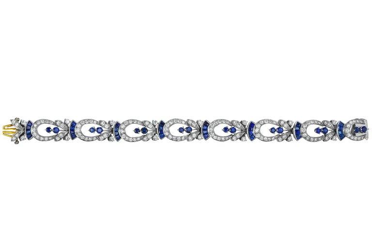 Tiffany & Co. Diamond and Sapphire Platinum Art Deco Bracelet 3