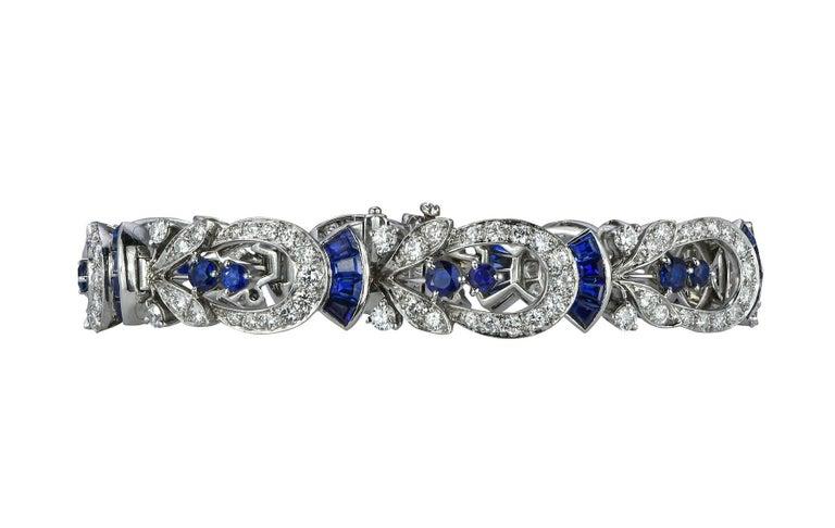 Tiffany & Co. Diamond and Sapphire Platinum Art Deco Bracelet 4