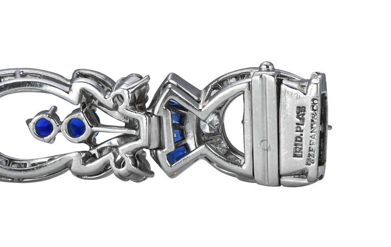 Tiffany & Co. Diamond and Sapphire Platinum Art Deco Bracelet 5