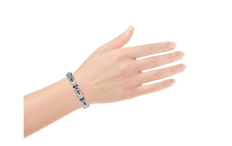 Tiffany & Co. Diamond and Sapphire Platinum Art Deco Bracelet 6