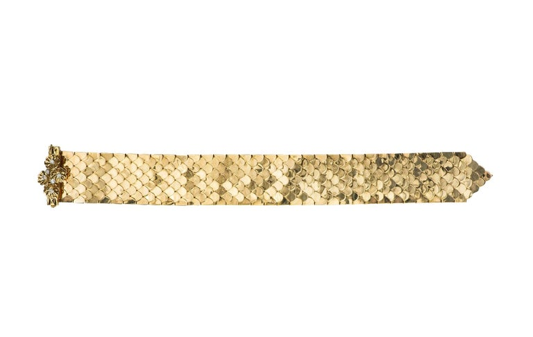 Retro Diamond and Yellow Gold Buckle Bracelet In Excellent Condition For Sale In Washington, DC