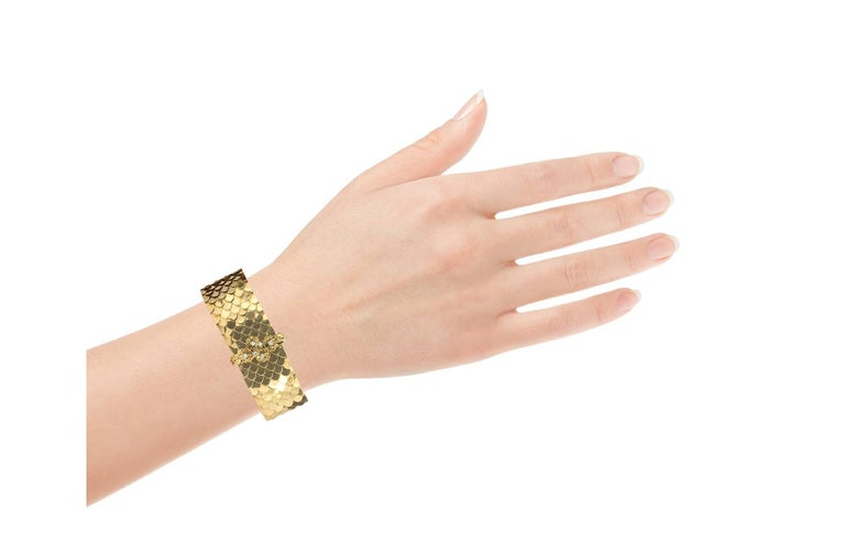 Women's or Men's Retro Diamond and Yellow Gold Buckle Bracelet For Sale