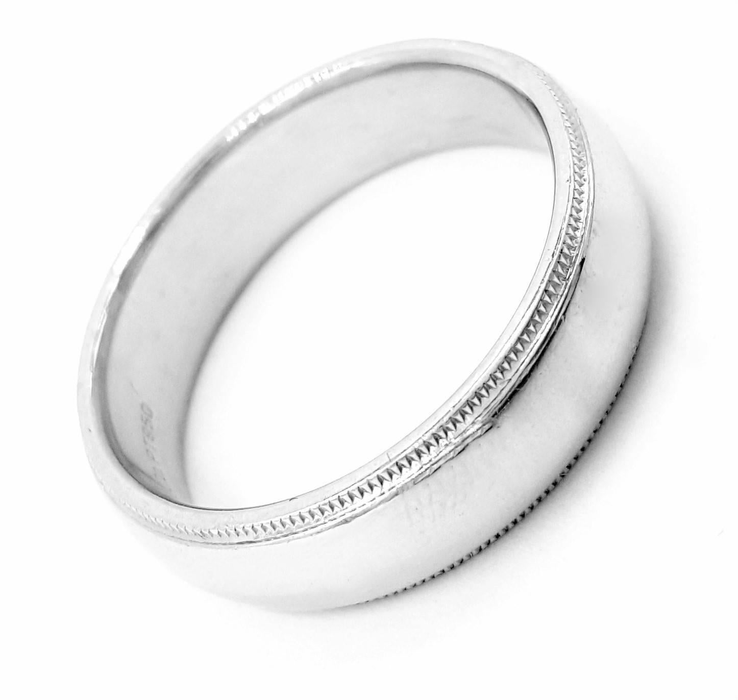 Tiffany And Co Mens Double Edged Milgrain Platinum Wedding Band Ring For Sale At 1stdibs