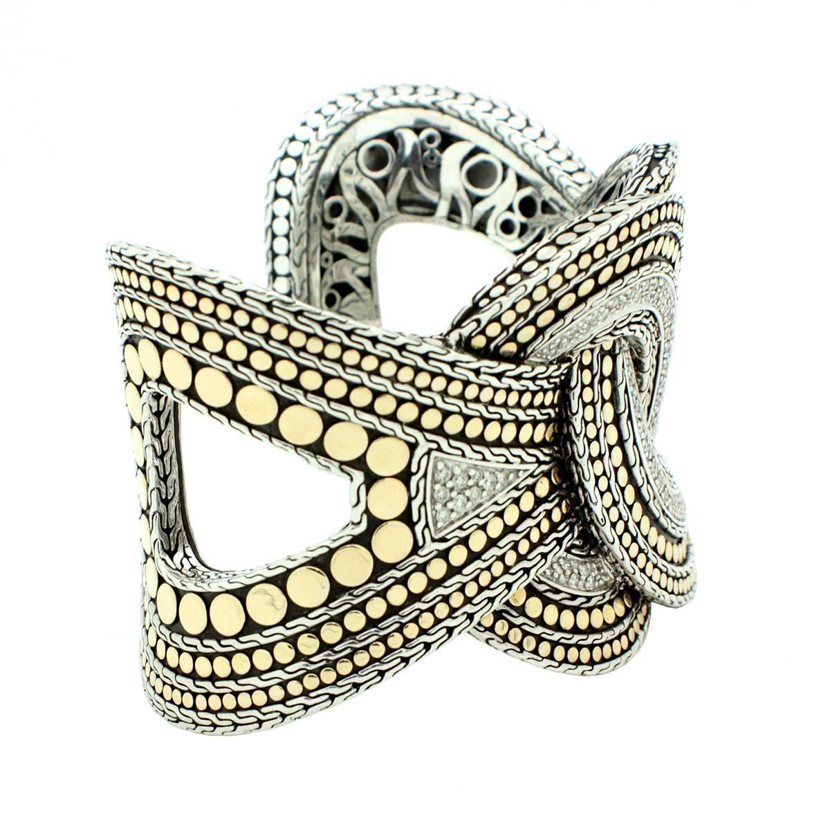 John Hardy Diamond Sterling Silver Gold Woven Dot Cuff