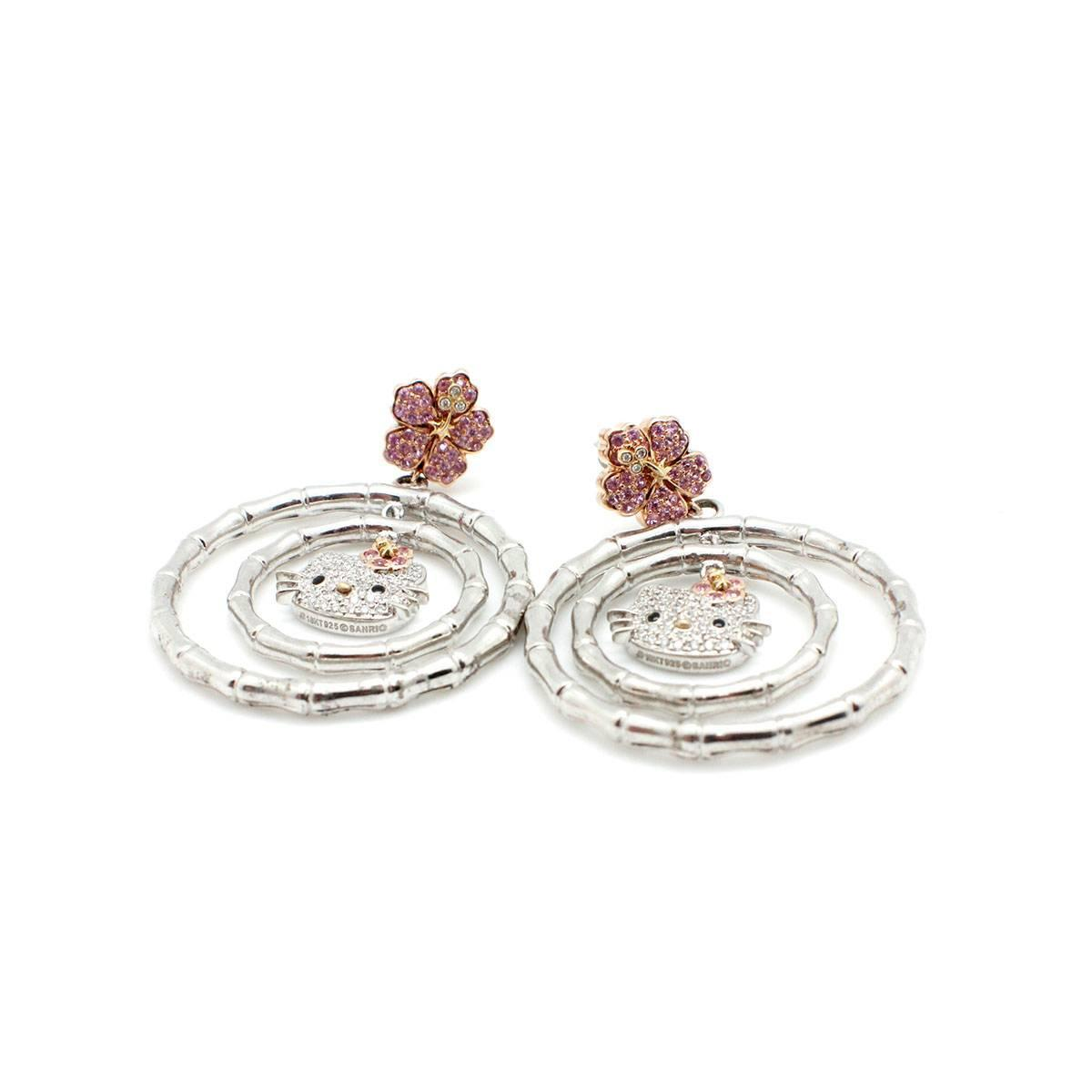 Kimora Lee Simmons Pink Sapphire Diamond Gold u0026quot;Hello Kittyu0026quot; Earrings For Sale at 1stdibs