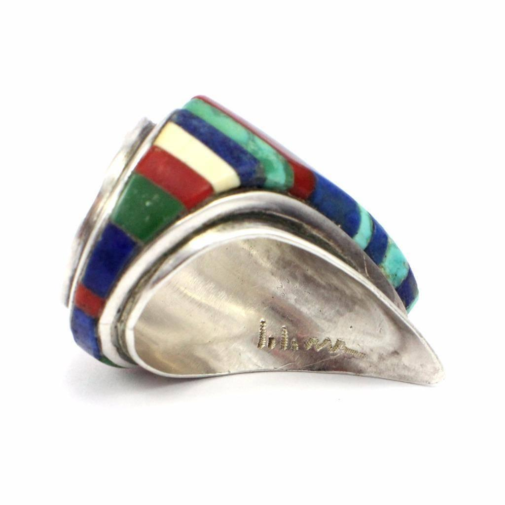 charles loloma turquoise lapis inlay sterling silver hopi