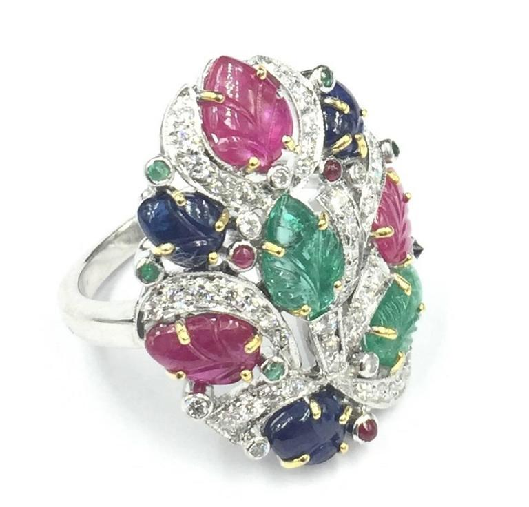 sapphire ruby emerald gold ring at 1stdibs