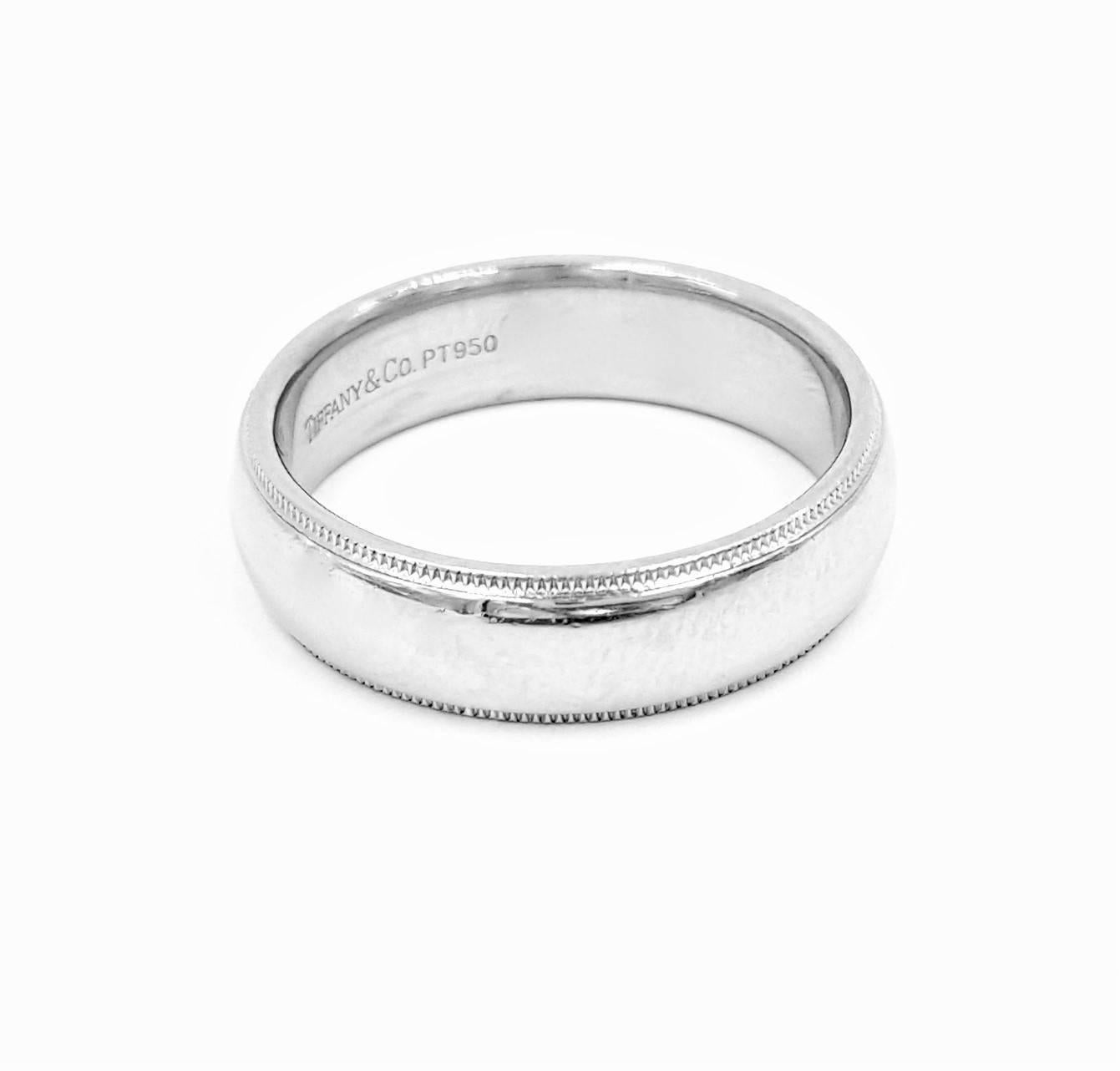 Tiffany And Co Men 39 S Double Edged Milgrain Platinum Wedding Band Ring Fo