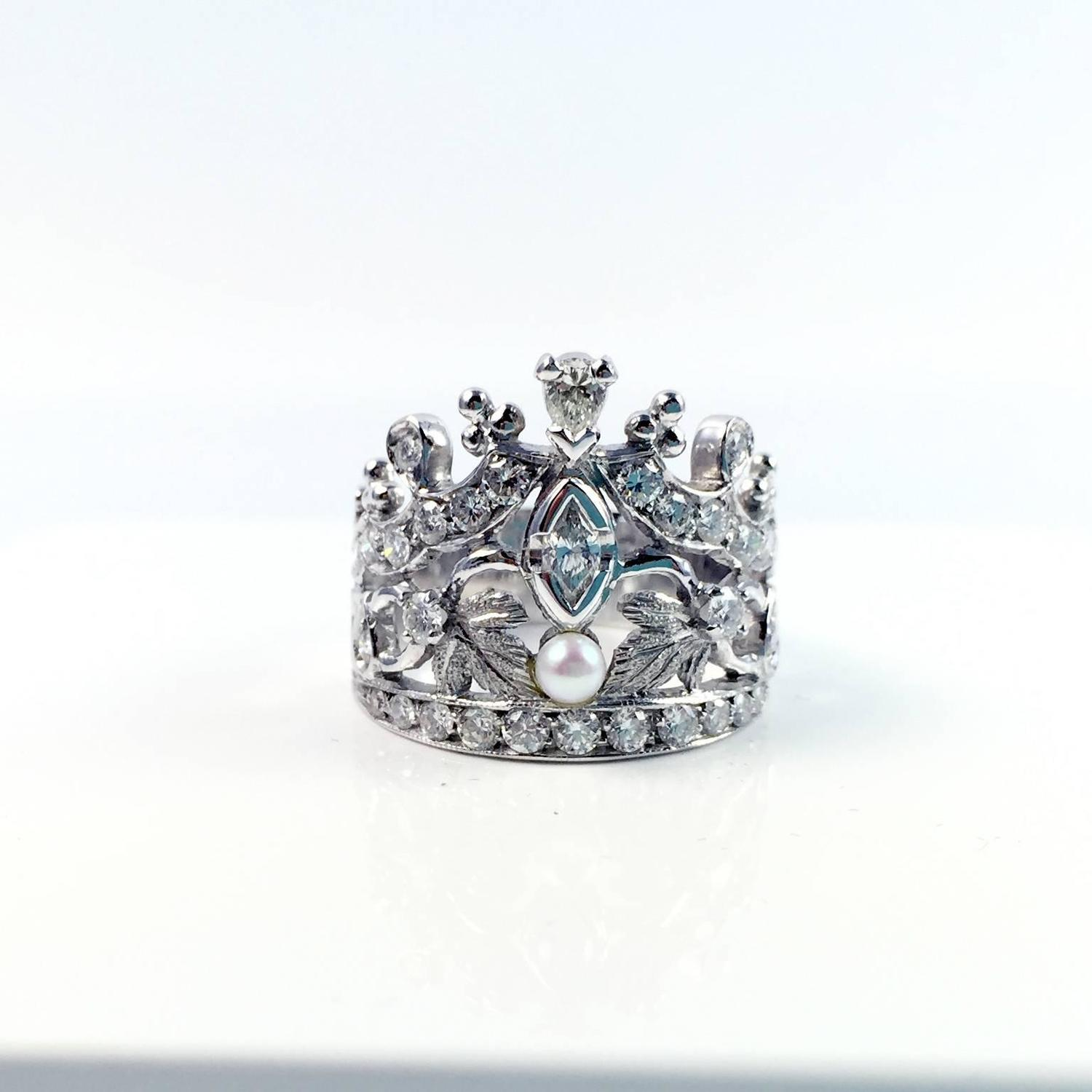 gold crown ring for sale at 1stdibs
