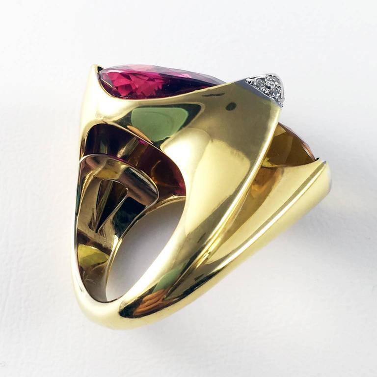 Rubelite Golden Beryl Gold Toi et Moi Cocktail Ring For Sale 2