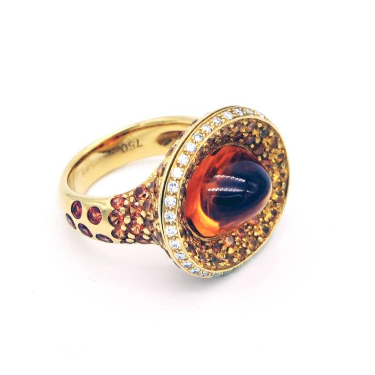 Citrine, Yellow Sapphire and Diamond Gold Ring 2