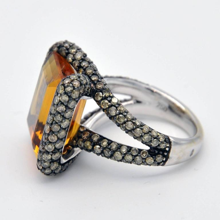 Citrine Champagne Diamond Gold Ring In As new Condition For Sale In Monte Carlo, MC