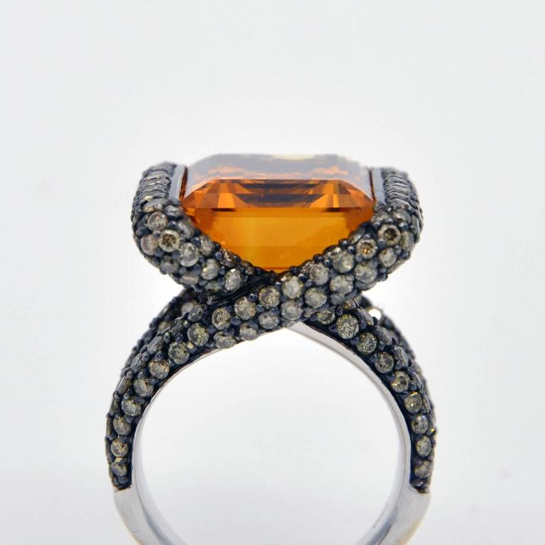 Women's Citrine Champagne Diamond Gold Ring For Sale