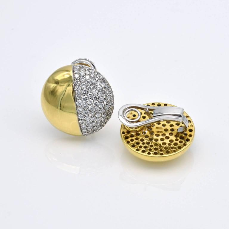 Contemporary Modern Round Diamond Gold Clip-On Earrings For Sale